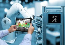 Man hand holding tablet with augmented reality screen software and blue tone of automate wireless -- robot arm in smart factory background